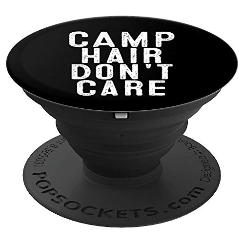 Camp Hair Don't Care Camping Gift for Women and Men - PopSockets Grip and Stand for Phones and Tablets ()