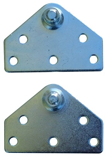 Large Flat Lift Support Bracket - Zinc Plated 14 Gauge Steel - 10mm Ball Stud - Gas Shock Mounting - Lid Strut Prop Spring Mount