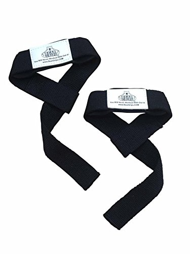 Bear Grips: Neoprene Padded Lifting Straps, Non-Slip, Extra Grip, 5mm Padded Wrist Straps for Dead Lifts, Weight Lifting, Powerlifting (Colors: Black & Pink, one-Size, Pairs: Two Straps per Pack)