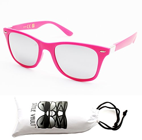 W1324-vp Style Vault GENERIC 80s Sunglasses (15MM Pink/silver-mirror, - 80s Style Pink Sunglasses