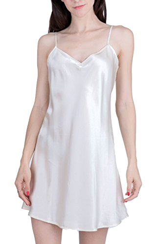 OSCAR ROSSA Women's Luxury Silk Sleepwear 100% Silk Slip Chemise Lingerie Nightgown,Ivory,Small