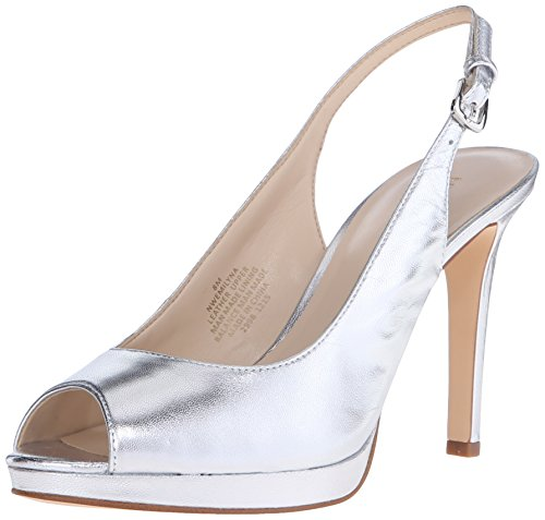 Nine West Women's Emilyna Metallic Dress Pump - Silver/Me...