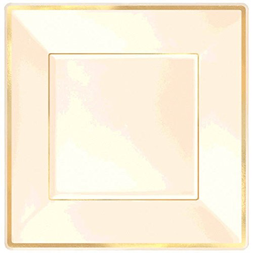 Amscan Elegant Square Plastic Plate Party Tableware and Reusable Dishware, Cream with Gold Trim, 10'', Pack of 8. Supplies (96 Piece) by Amscan