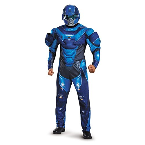 Disguise Men's Halo Spartan Muscle Costume, Blue, (Halo Adult Costume)