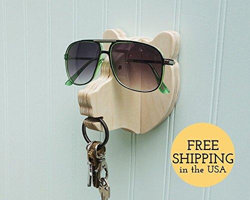 Bear head wall hanger for keys & glasses - next-to-door organizer for keys, glasses, & - Sunglasses Next