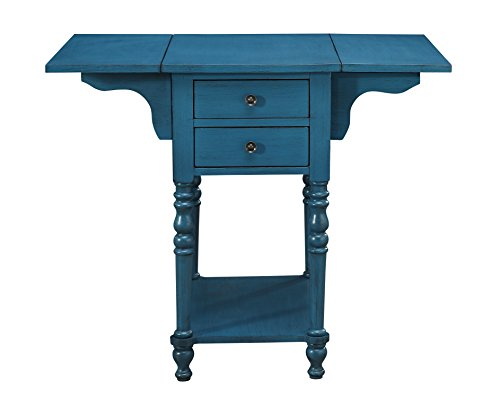 - Treasure Trove 17307 Drop Leaf Two Drawer Accent Table, Blue