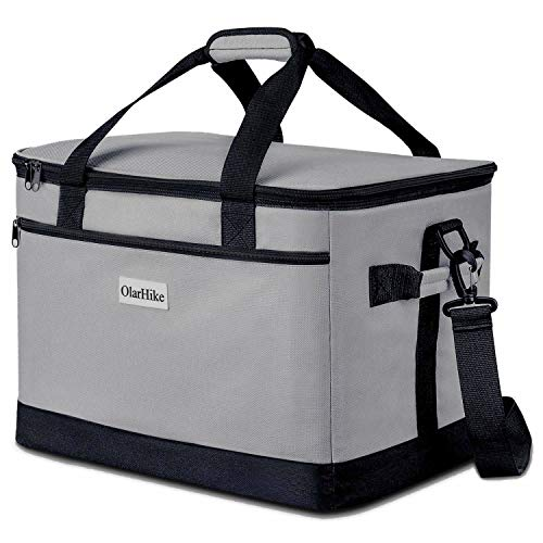 OlarHike 30L Large Collapsible Cooler Bag, Double Deck Insulated Soft Cooler Camping, Picnic, BBQ, Family Outdoor Activities, Grey