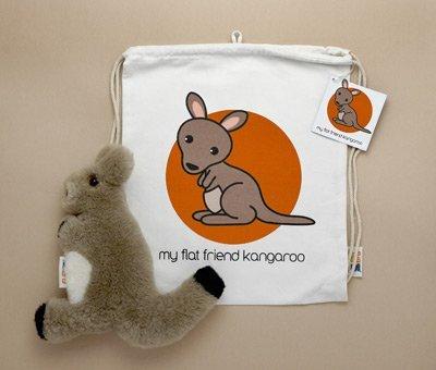 Flat Friends BKANLD Brown Kangaroo- Wallaby- Lambskin Soft Toy & Drawstring Bag