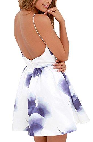 FANCYINN Women Sexy Backless Spaghetti Strap Floral Print Short Mini Casual Dress L