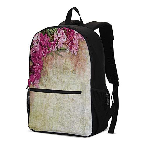 Floral Fashional Backpack,Vintage Illustration of Oleander Flowers Distressed Retro Background for School Travel,12.2