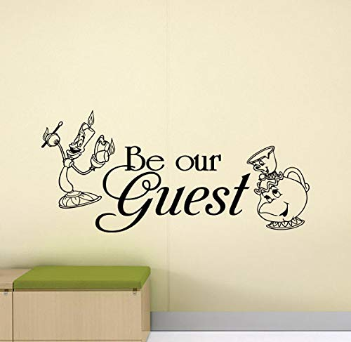 (Be Our Guest Wall Decal Home Sign Beauty and The Beast Quote Playroom Wall Decal Family Gift Vinyl Sticker Bedroom Print Walt Disney Wall Art Hallway Wall Decor Entryway Poster 933)