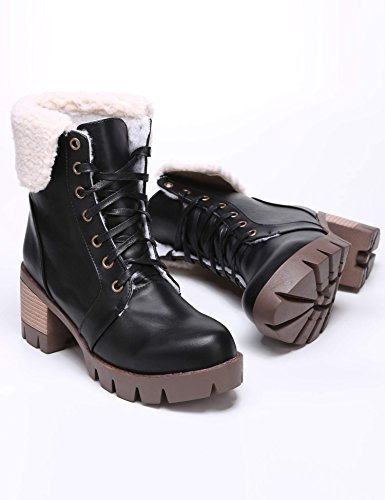 eshion Motorcycle Up Up Heel Women Square Platform Leather Fold Black Faux Lace Boot nHOSqwf