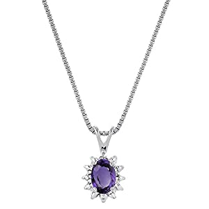 February Birthstone Pendant Necklace Amethyst Sterling Silver or Yellow Gold Plated Silver 925