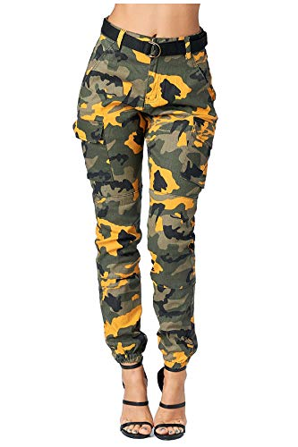 TwiinSisters Women's High Rise Slim Fit Color Jogger Pants with Matching Belt - Size Small to 3X (Small, Camo Cargo Yellow #Rjj2036)