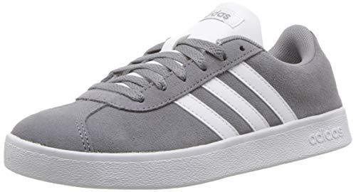 - adidas Kids' VL Court 2.0 Sneaker, Grey/White/Grey, 2 M US Little Kid