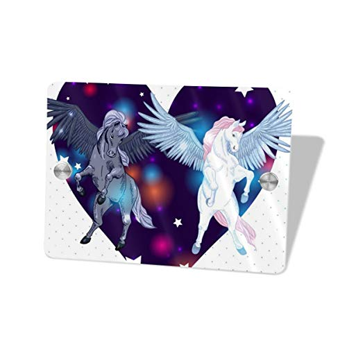Hucuery Commission with Pair Winged Pegasus Star Love 5.57.5 in Square Doorplate£¬Square House Decoration, Custom Personality Slogan, Office Meeting Sign