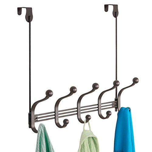 Hook Multi Door (mDesign Vintage Decorative Metal Double Over-The-Door Multi 10 Hooks Storage Organizer Rack for Hats and Coats, Hoodies,Scarves, Purses, Leashes, Bath Towels & Robes - - Bronze)