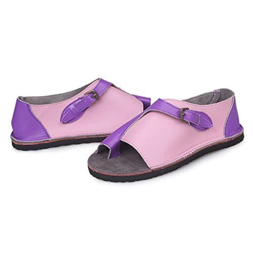 Ysl Buckle - SOOTOP Women's Flat Sandals/Open Toe Summer Buckle Flat Beach Sandals Women Fashion Retro Peep Toe Roman Style Soft Comfortable Leisure Purple