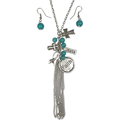 Faith Theme Mixed Charms Long Tassel Necklace & Earring Set (Cross Imitation - Necklace Beaded Cross Set