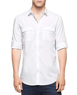 Calvin Klein Men's Long Sleeve Roll Tab Chambray Button Down Shirt