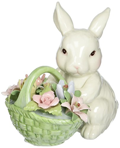 Cosmos 10592 Fine Porcelain Bunny with Flower Basket Figurine, 3-5/8-Inch