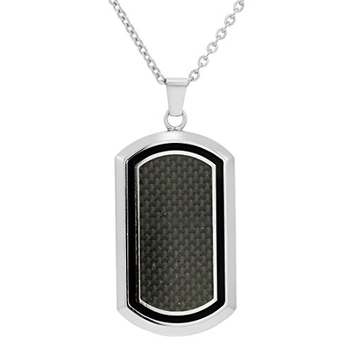 - Oxford Ivy Men's Stainless Steel and Carbon Fiber Dog Tag Necklace on a 22 inch Chain