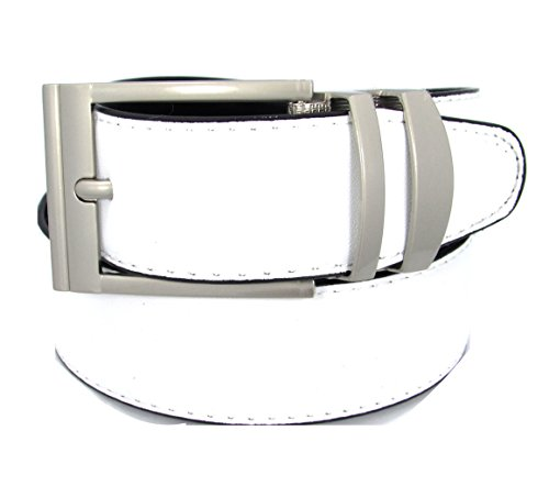 Reversible Bonded Leather Belt 35mm (40, (White Reversible Belt)