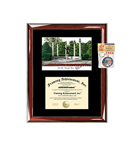 Ball State University BSU Diploma Frame Lithograph - Premium Wood Glossy Prestige Mahogany with Gold Accents - Single Black Mat - University Diploma Frame