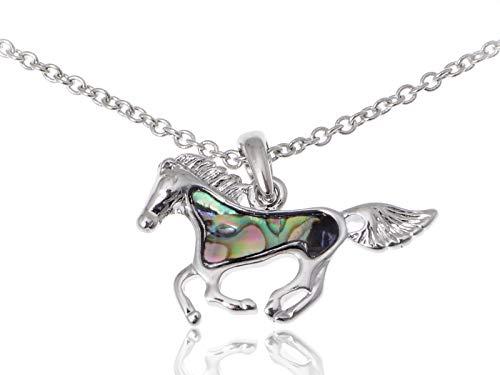 Race Adj - Cute Silver Tone Faux Abalone Shell Body Racing Race Horse Adj Fashion Necklace