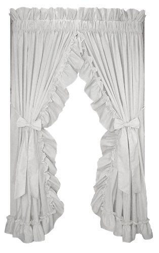 Window Toppers Stephanie Country Style Ruffle Priscilla Curtains Pair 86-Inch-by-84-Inch - 3 Inch Rod Pocket, ()