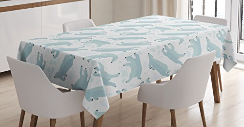 - Ambesonne Bear Tablecloth, Swimming Polar Bears North Pole Arctic Mammals Winter Frozen Sea Hand Drawn, Dining Room Kitchen Rectangular Table Cover, 60 W X 90 L Inches, Green White