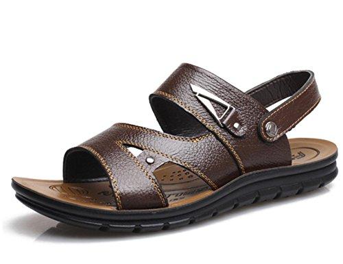 Scarpe sandali di cuoio YCMDM Uomo all'aperto Athletic Casual Tallone piano Vuoto-fuori nero / marrone , brown , 42