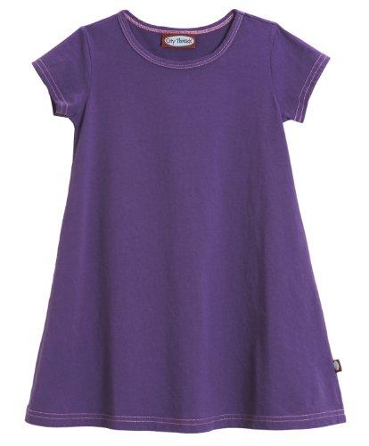 City Threads Big Girls' Cotton Short Sleeve Cover Up Dress for Sensitive Skin SPD Sensory Friendly, Purple, 10