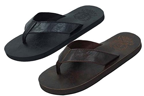 Nya Man Lätt Konstläder Flip Flops Sandaler Svart