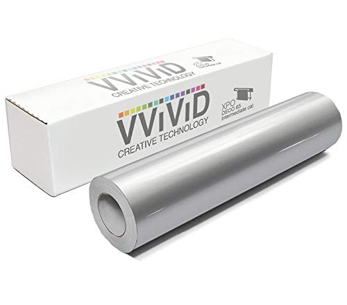 VViViD Silver Metallic Gloss DECO65 Permanent Adhesive Craft Vinyl for Cricut, Silhouette & Cameo (300ft x 11.8'' Master Roll)