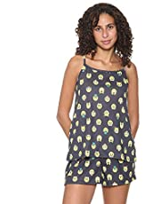 Carina Spaghetti Strap Emoji-Print Top with Elastic Waist Shorts Pajama Set for Women