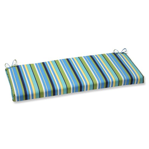 Cushion Stripe (Pillow Perfect Outdoor Topanga Stripe Lagoon Bench Cushion)