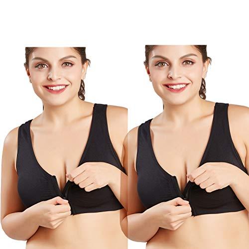 (CHJM Women's Zip Front Sports Bra Wireless Post-Surgery Bra Active Yoga Sports Bras (2pack:Black, US M/Asian Size XL))