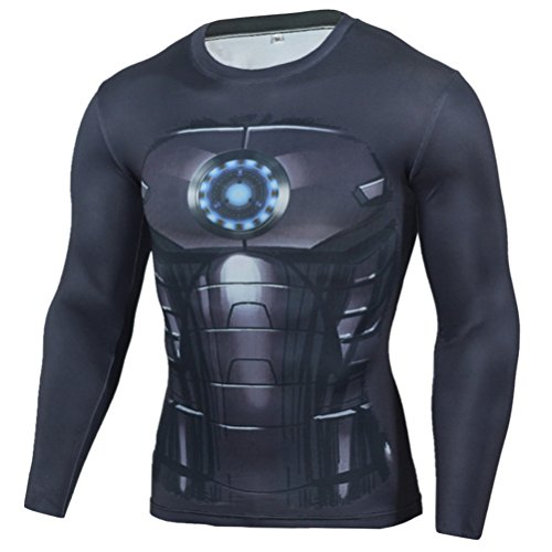 Mens Slim Compression Shirt,Iron Men Fashion Long Sleeve Sport Workouts Tee L