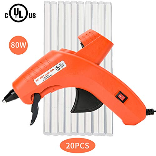 Hot Glue Gun,Full Size (Not Mini) 80W Power High Temp Heavy Duty Melt Glue Gun Kit for PDR,DIY Small Projects,Arts and Crafts,Home Quick Repairs,Artistic Creation (80W-UL+20PCS)
