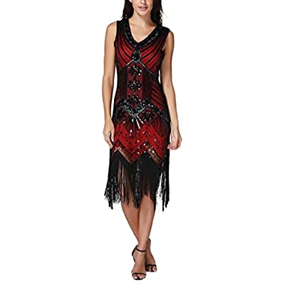 Perman Womens Dress, Vintage 1920s Sexy V Neck Slim Sequin Art Nouveau Embellished Fringed Flapper Dresses for Sale