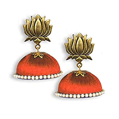 02daa4c50 Buy Ailsie Stylish Fashion Silk Thread Traditional Antique Gold Lotus Silk  Thread Jhumkas Earrings With Stone Border - Red - Medium Online at Low  Prices in ...