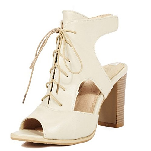 COOLCEPT Mujer Moda Fiesta Zapatos Cordones Slingback Sandalias de Gladiador Tacon Ancho alto zapatos Beige