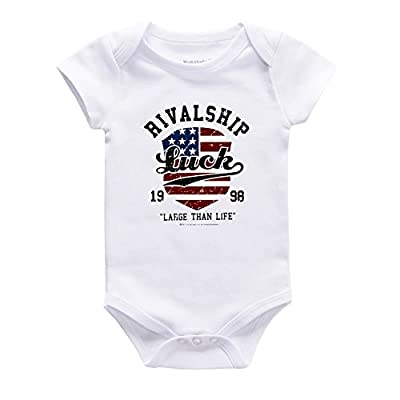 Unisex Funny Baby White Onesies American Flag Bodysuits Harem Rompers Jumpsuit Outfits Pajamas (Newborn- 12 Months)