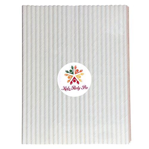 100 pcs Plain White Paper Straws, Pure Solid White Color Party Mason Jar Paper Drinking Straws Bulk, Wedding Birthday Winter Baby Bridal Shower Cake Pop Sticks