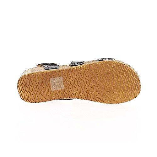 Sandales compensées noires confort à talon de 5cm
