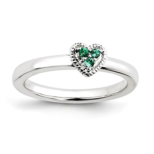 Top 10 Jewelry Gift Sterling Silver Stackable Expressions Heart w/Created Emerald Ring by Jewelry Brothers Rings (Image #1)