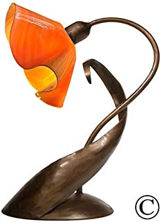 product image for Jezebel Radiance Lazy Daisy Lamp. Hardware: Brown with Brown Highlights. Glass: Tangerine, Lily Style