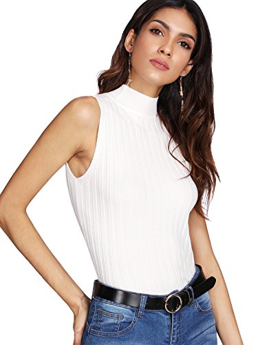 SweatyRocks Women's Knit Crop Top Ribbed Sleeveless Halter Neck Vest Tank Top (One Size, White (White Halter Neck Top)