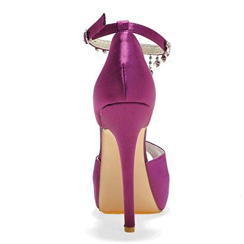 L@YC Zapatos De Boda De Las Mujeres PL-3128-21 Rhinestone Platform Pump Satin Zapatos De Novia Con Colgantes De Seda Purple